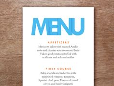 Menu templates to download and print at home. Just enter your text into the PDF template, print and cut down the middle of the page.