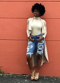 "ecstasymodels: "" Distressed Denim + Bermuda Shorts Fashion By Meadows & Bark Boutique "" Fashion Line, Diva Fashion, Modest Fashion, Fashion Outfits, Fashion Clothes, Street Fashion, Fashion Ideas, African Girl, African Dress"