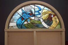 Stained Glass Fighter Jet And Cardinal Window