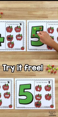 Use these free printable counting numbers apple math mats during your preschool and kindergarten fall or apple theme activities to help kids learn to count. Kindergarten Math Activities, Preschool Learning Activities, Preschool Activities, Kindergarten Design, Preschool Projects, Math Math, Kindergarten Classroom, Preschool Apple Theme, Numbers Preschool