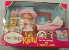Tiny Steps Kelly Mattel Walking Doll & Carriage by Mattel. $35.00. 1998 Mattel. Help Kelly take her very first steps. Pull my carriage and I really walk!. Playset. Kelly stands about 4 inches tall. Includes carriage and baby toys and accessories.