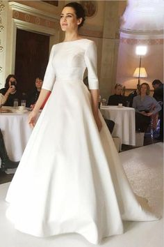 A-Line Round Neck Half Sleeves Satin Wedding Dress - Wedding satin wedding gown - Wedding Gown Modest Wedding Dresses With Sleeves, Western Wedding Dresses, Simple Dresses, Bridal Dresses, Bridesmaid Dresses, Prom Dresses, Dress Wedding, Wedding Vows, Long Dresses