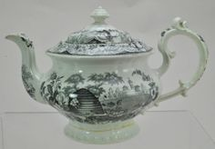 Antique Staffordshire Black Transferware Beehive Teapot circa 1840 | the Teapots Collectionary