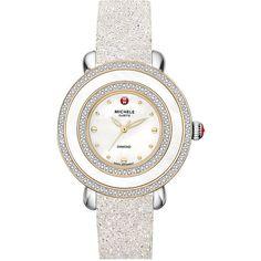 MICHELE 'Cloette Fleur'16mm Watch Bracelet ($450) ❤ liked on Polyvore