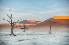 *🇳🇦 Deadvlei at dawn (Namibia) by Trevor Cole / 🌅 William Stewart, Beautiful Landscapes, Dawn, Digital Marketing, Sunrise, Africa, Scene, Explore, Mountains