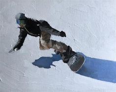 "Daily Paintworks - ""Snowboarding"" - Original Fine Art for Sale - © James Coates"
