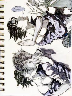 """lnmei: """" """"He held himself up on all fours above me and made me reach for his mouth -and I did. I would again. I'd cross every line for him. I'm in love with him. And he likes this better than fighting."""" Snowbaz in sketchbook from a while ago sorry I..."""