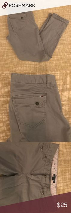Grey Tommy Hilfiger Capris Grey Tommy Hilfiger brand Capris. Very soft and comfortable, snap back flap pocket, lightly worn and in excellent condition! Tommy Hilfiger Pants Capris
