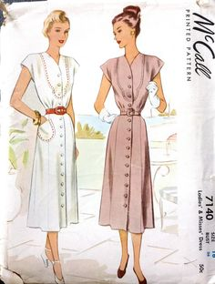 McCall 7140 1940s Button Front v Neck DRESS  Pattern womens vintage sewing pattern by mbchills
