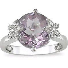 My engagement ring... Rose De France Amethyst. Diamonds in the flowers. 14k white gold