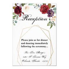 3.5x5 Reception Card Roses on White with Gold Geom Wedding Rehearsal Invitations, Beautiful Wedding Invitations, Wedding Invitation Design, Custom Invitations, Party Invitations, Invitation Ideas, Bingo Cards, Menu Cards, Geometric Wedding