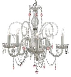 Gallery Murano Venetian-Style All Crystal Chandelier - This beautiful chandelier is decorated with crystal that captures and reflects the light of the candle bulbs, each resting in a scalloped bobache. 5 Light Chandelier, Crystal Chandeliers, Chandelier For Girls Room, Pendant Lights, Circular Chandelier, Crystal Lights, Compact Fluorescent Bulbs, Gallery Lighting, Lighting Store