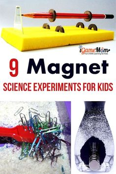 9 magical magnet science experiments for kids to learn force and motion, static electricity, with dollar bill, cereal, iron powder. Easy and fun STEM activities for kids of all ages. For physics and science class Cool Science Fair Projects, Science Activities For Kids, Preschool Science, Stem Activities, Science Classroom, Primary Science, Electricity Experiments, Cool Science Experiments, Static Electricity