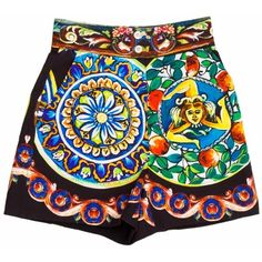 Dolce & Gabbana Shorts (€260) ❤ liked on Polyvore featuring shorts, colorful shorts, patterned shorts, dolce&gabbana, print shorts and multi colored shorts