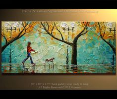 "ORIGINAL Abstract Contemporary  A Walk in the Park Oil Painting Heavy Palette Knife Texture by Paula Ready to Hang 36"" on Etsy, $340.00"