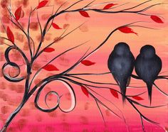 A Morning With You Painting - Birds on a whimsical tree <3 Cute art!