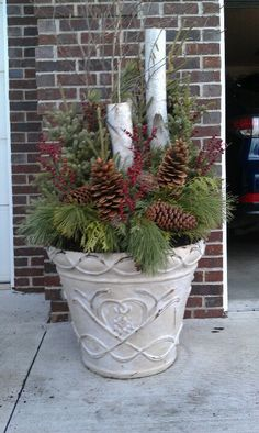 Sal And Dave S Christmas Pot Planters Arrangements Outdoor Decorations