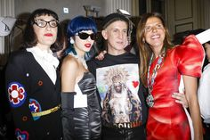 Mia Moretti, Sita Abellan, Jeremy Scott and Anna Dello Russo are seen backstage ahead of the Moschino show during Milan Men's Fashion Week Fall/Winter 2017/18 on January 14, 2017 in Milan, Italy.