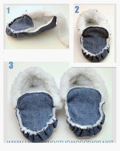 Home Sweet Homebodies: No-Socks Slipper-MocsSew booties Pattern (denim fleece lined slippers). I wonder where I can find Memory Foam to put in-between the bottom layer for the footed?Slippers from jeans. Jean Crafts, Denim Crafts, Sewing For Kids, Baby Sewing, Sewing Clothes, Diy Clothes, Jean Diy, Sewing Slippers, Sewing Crafts