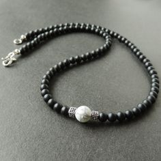 White Howlite & Matte Black Onyx Healing Gemstone Necklace with S925 Sterling Silver Artisan Cube Balance Beads & S-Hook Clasp - Handmade by Gem & Silver NK038