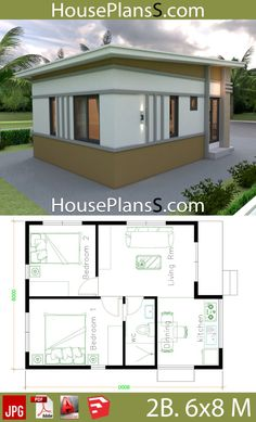 Small House Design Plans with 2 Bedrooms - House Plans Sam 2 Bedroom House Plans, Dream House Plans, Small House Plans, House Floor Plans, Dream Houses, 2 Bedroom House Design, Simple House Design, Tiny House Design, Casa Loft