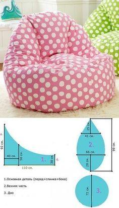 Fotoliul tip sac/pară — confecționați-l în condiții casnice, în doar 30 minute! Diy Sewing Projects, Sewing Hacks, Sewing Tutorials, Sewing Crafts, Sewing Patterns, Sewing Pillows, Diy Pillows, Bean Bag Pattern, Diy Bean Bag