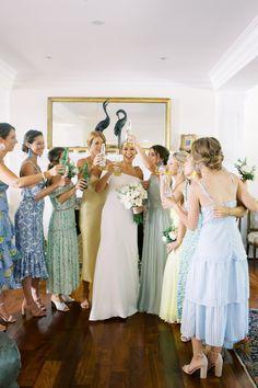 Wedding Goals, Dream Wedding, Wedding Day, Elope Wedding, Lela Rose Wedding Dresses, Bridesmaid Dresses, Hot Pink Bridesmaids, American Wedding, Here Comes The Bride