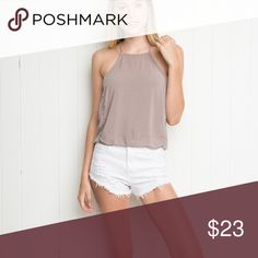 Brandy Melville Kiara Tank halter / high neck / square neck tank in the most beautiful shade of mauve. super soft! Brandy Melville Tops Crop Tops