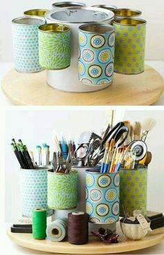 Organization using recycled cans and a lazy Susan