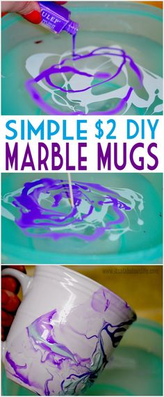 DIY Marble Mug - This would make an awesome DIY gift!  Make in their favorite colors and just add a pack of their favorite coffee or hot chocolate!