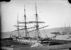 The sailing ship 'Wild Deer' in the graving dock at Port Chalmers, New Zealand, 1873