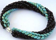 Beaded Bracelet in Turquoise and Black Super Duo by dlpdesigned, $35.00  https://www.etsy.com/listing/175094043/beaded-bracelet-in-turquoise-and-black?ref=related-0