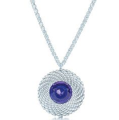 Tiffany necklace with a round tanzanite and diamonds in platinum, from the 2013 Blue Book Collection.
