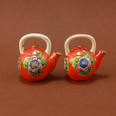 Orange Teapot Tea Kettle Salt Pepper Shaker Set Vtg Japan.