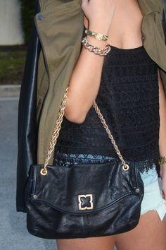 #BCBG purse #HM tank and #AmericanEagle distressed shorts