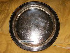 Vintage Wm Rogers Silverplate Tray 12 1/4 . 2.5 drcs