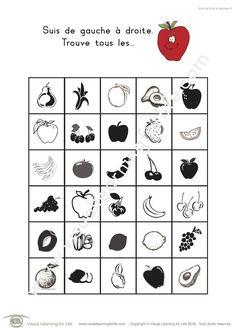 Dans les fiches de travail « Suivi de fruits et légumes » l'élève doit trouver tous les fruits et légumes identiques à l'exemple en haut de la page.