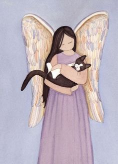 Ange de chat tuxedo (tux) noir et blanc signé Lynch impression art populaire I Love Cats, Crazy Cats, Frida Art, Art Populaire, Angel Art, Cat Angel, Pet Loss, White Cats, Cat Drawing