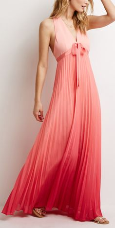 Ombre pleated maxi dress