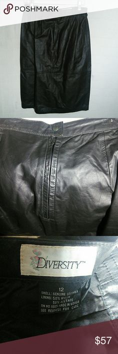 Black Leather skirt Black Leather skirt sz 12 gently used in great condition diversity Skirts