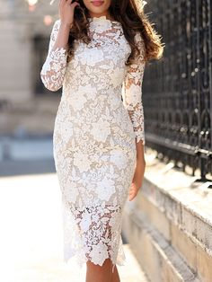 Gorgeous White Lace Bodycon Dress – Oh Yours Fashion White Lace Bodycon Dress, Lace Sheath Dress, Lace Midi Dress, Dress Skirt, Midi Dress With Sleeves, The Dress, Dress Long, Formal Dress, Casual Dresses