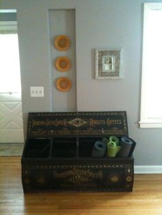 The antique coffee bin is from an old grocery store.