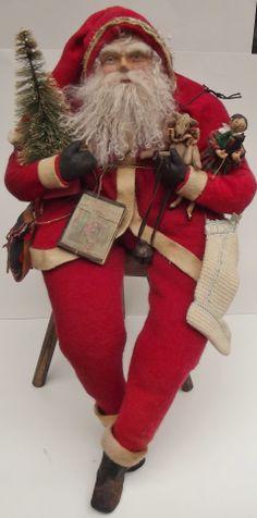 Handmade Santa Claus~Doll & Teddy Bear By Kim Sweet~Kim's Klaus~Hand Dyed Vintage Red Wool~Vintage Red Based Bottle Brush Tree~Handmade Book~Vintage Hand Knit Stocking....Hefty-Long Legged-30-ish inches Long ~Ooak Sitting Primitive Santa