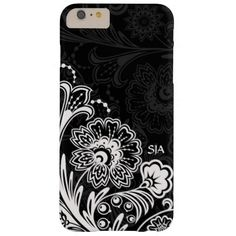 Bold Floral Design iPhone 6 Plus Case with customizable text.