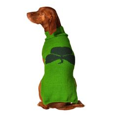 CHILLY DOG Irish Green Shamrock Wool Dog Sweater for 2-120 lb Dogs - 8 sizes #ChillyDog