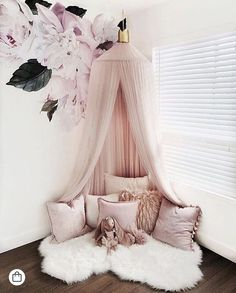 Decorative Blush Pink Baldachin with Crown Scandinavian Nursery Room Decor Children play room canopy crib decor bed canopy Photo Props bedroom decor Scandinavian Nursery, Baby Bedroom, Baby Girl Bedroom Ideas, 4 Year Old Girl Bedroom, Baby Girl Room Decor, Toddler Room Decor, Baby Room Ideas For Girls, Mauve Bedroom, Room Baby