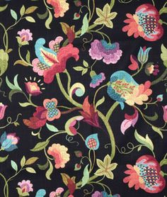 flower fabric Modern Poetic Flaxseed by Waverly is a gorgeous jacobean floral drapery dcor fabric. This fabric can be used for projects like curtains, throw pillows, tablecloths, and mor Tapestry Fabric, Drapery Fabric, Fabric Decor, Fabric Crafts, Santa Maria, Textures Patterns, Fabric Patterns, Sewing Patterns, Textiles