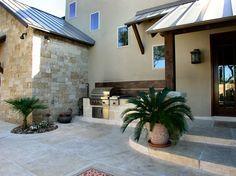 Stamped concrete patio with outdoor kitchen. Stamped Concrete, Concrete Patio, Concrete Floors, Outdoor Living, Outdoor Patios, Outdoor Decor, Outdoor Ideas, Outdoor Spaces, Chicken Garden