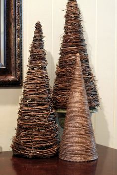 wrap twine around a brown paper cone and hot glue for a Christmas tree