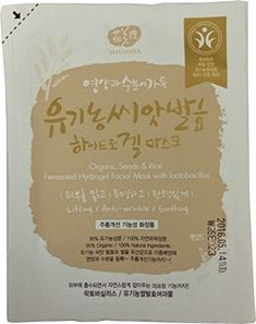 Whamisa Organic Seeds  Rice Fermented Hydrogel Facial Sheet Mask with Lactobacillus >>> Click image for more details. (Note:Amazon affiliate link) #FacialMask